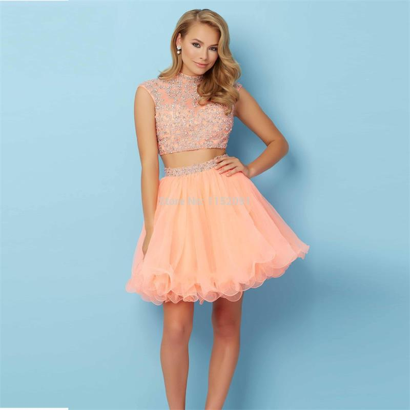 High Neck Fashion Peach Two Pieces Short Homecoming Dresses 2016 Hot