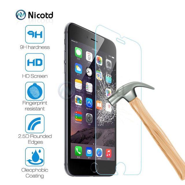 Закаленное Стекло для iPhone 8 Plus Экран Защитная пленка для Apple iPhone 7 Plus Стекло для iPhone X SE 5 5S жесткая защита Стекло крышка