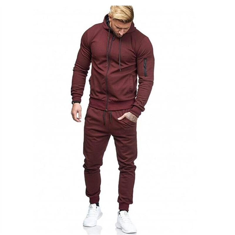 Autumn New Men's High Street Hoodies Sweatpants Sets Male Solid Color Zipper Hooded Coat Jacket Sportswear Tracksuit Set