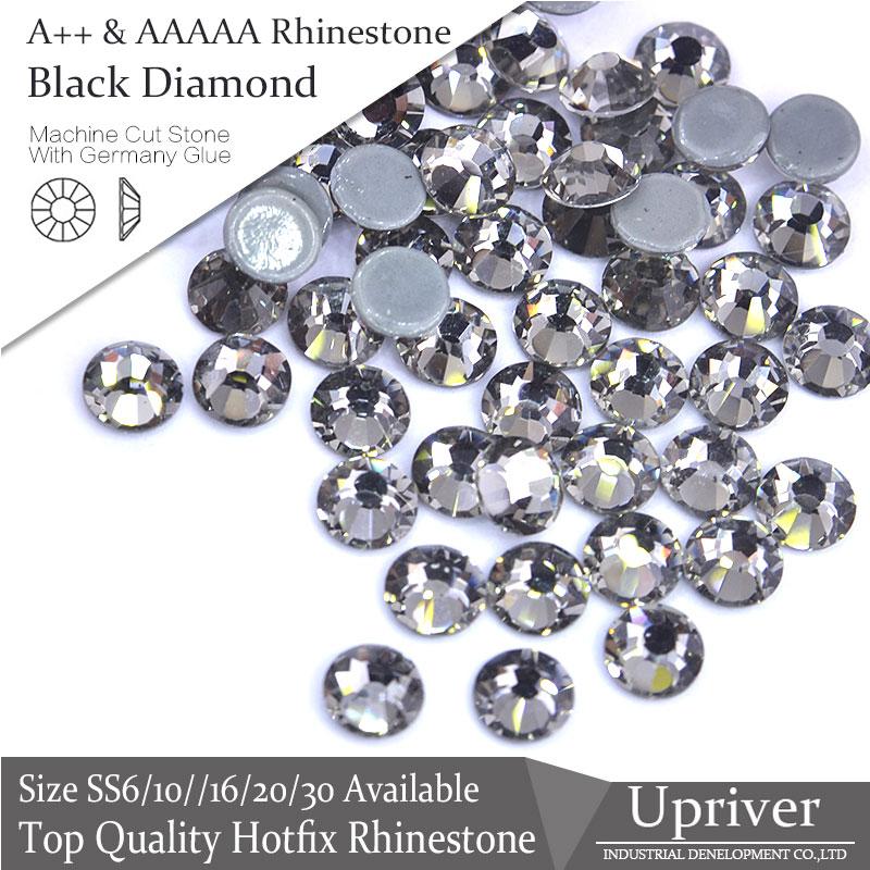 A++ 1440pcs/288PCS Attractive Shiny Glass Flatback Black Diamond SS6-SS30 Hotfix Rhinestone For Clothing Accessories