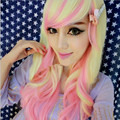 Hot Sell Lotita Cosplay Full Lace Women Wigs Beige Gradient Pink Synthetic Hair Pieces For Stage/Party Long Wave Peruca