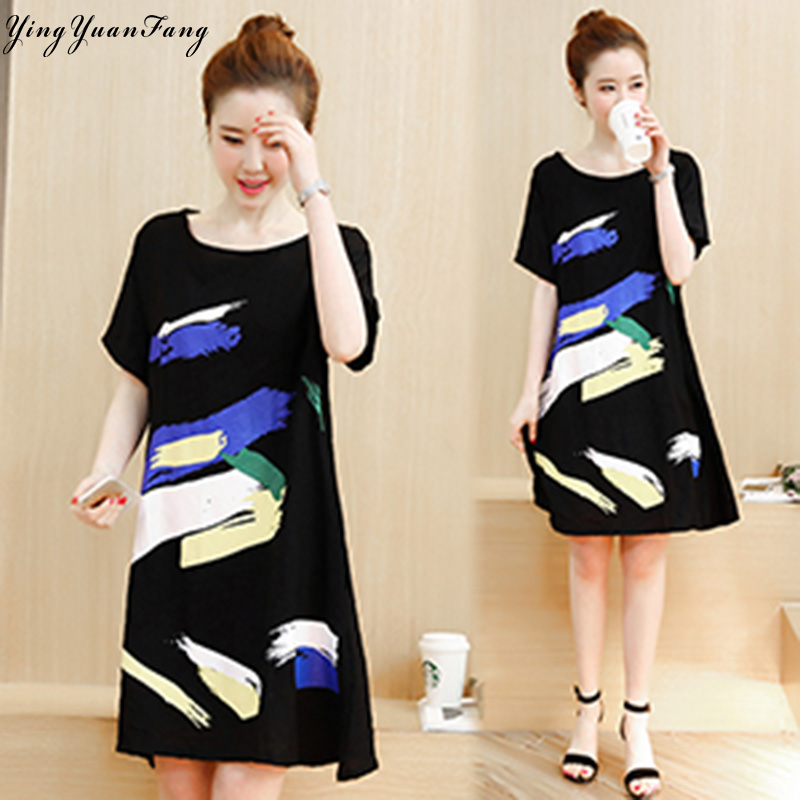 YingYuanFang  New fashion women's short-sleeved fat plus large size 4XL cotton and linen printed dress