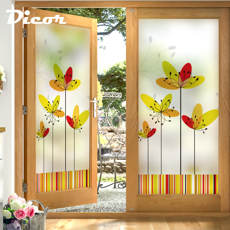 Warm Home Decor: 2019 New Glass Film Flowers Bright Yellow Warm Color