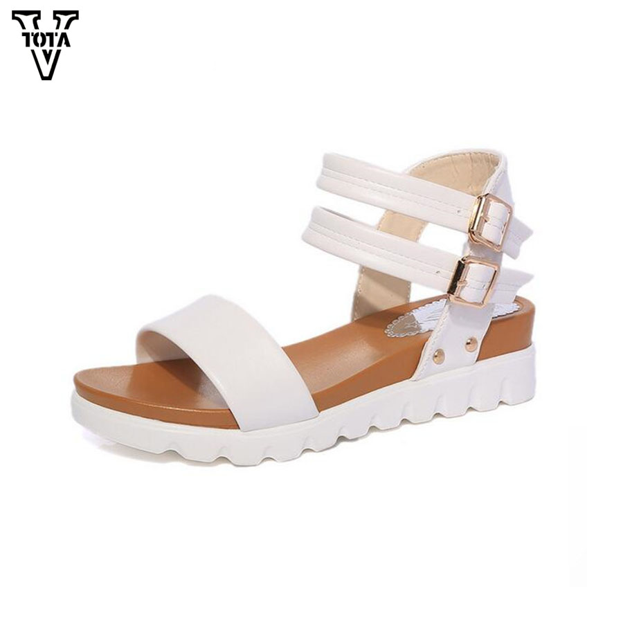 VTOTA Fashion Summer Sandals Women 2017 Shoes Woman wedges Open Toe Sandals Platform soft Breathable shoes woman bow flats X407 vtota summer shoes woman platform sandals women soft leather casual peep toe gladiator wedges women shoes zapatos mujer a89
