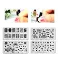 12 TIPOS de Espaço Negativo Placas de Imagem Nail Art Stamping Template Stamp Fresco Triângulo Prego Placa de Selo