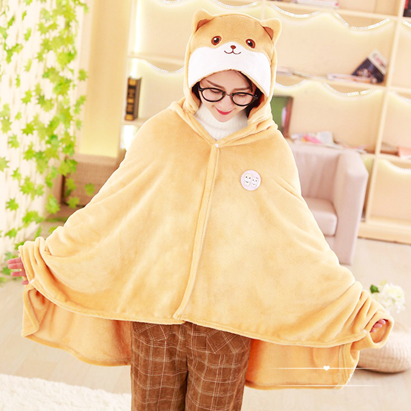 1.7*0.9cm Cute Corgi Dog Cape Lazy Blanket, Cartoon Shiba Inu Plush Toy Blanket, Cosplay Cloak Air Blankets, Birthday Gift