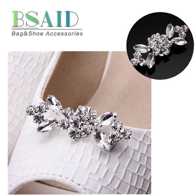 1 Pair Shiny Tone Rhinestone Boots Shoe Clips Buckle Silver Crystal Bridal  High-Heel Wedding a8d667cbdca9