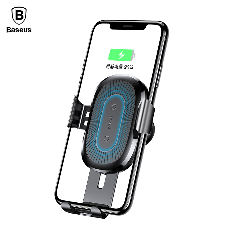 Baseus QI 10W Wireless Charger Car Holder for mobile phone in car iphone X Samsung Galaxy S9 Quick Charge Car Mount Phone Stand