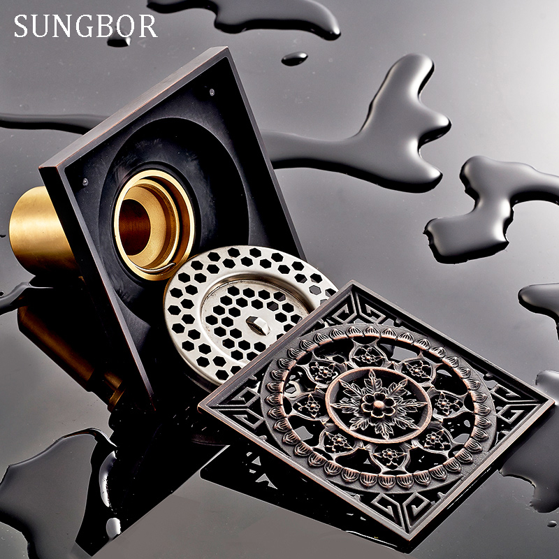 10*10cm Vintage Artistic black Brass Bathroom Square Shower Floor Drain Trap Waste Grate With Hair Strainer anti smelly drains