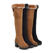 Large size 34-43 over the knee boots fashion shoes women keep warm snow boots high heels shoes winter boots flock
