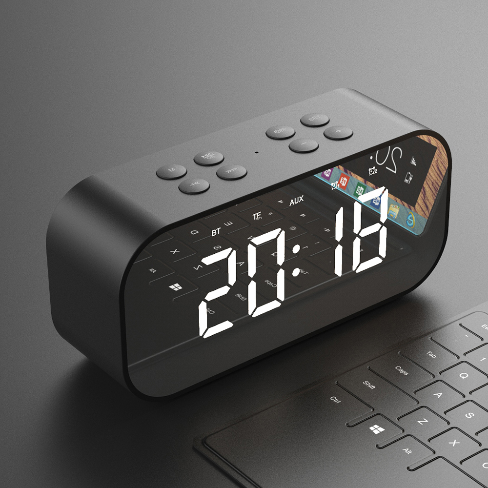 Bluetooth 5,0 altavoz inalámbrico portátil Bluetooth columna Subwoofer Music sonido caja tiempo LED Snooze reloj despertador para el teléfono portátil