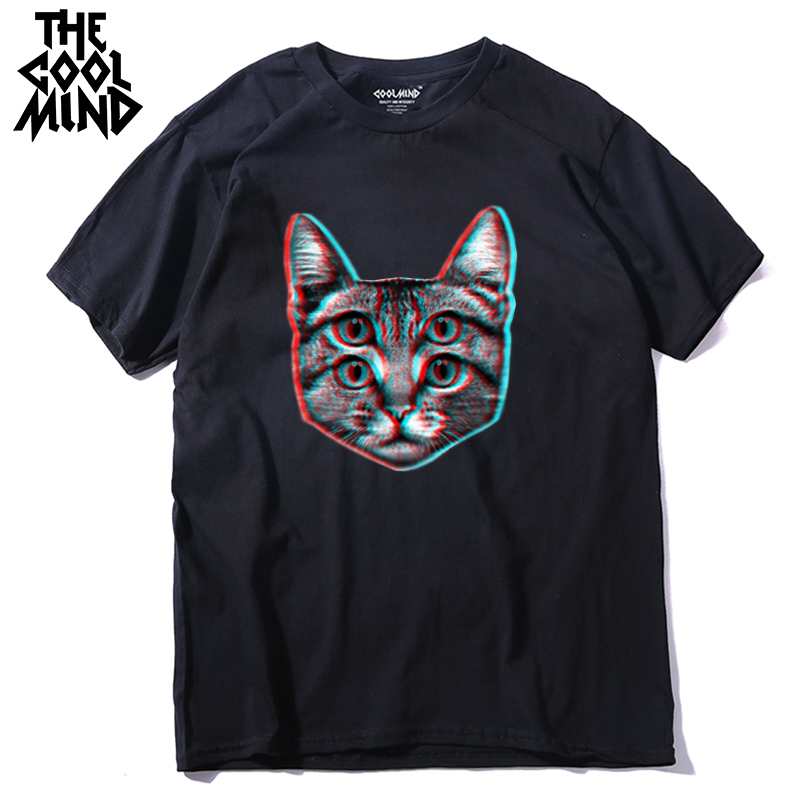Men T-Shirt Short-Sleeve COOLMIND Funny Male Fashion Casual 100%Cotton Qi0410a Cat