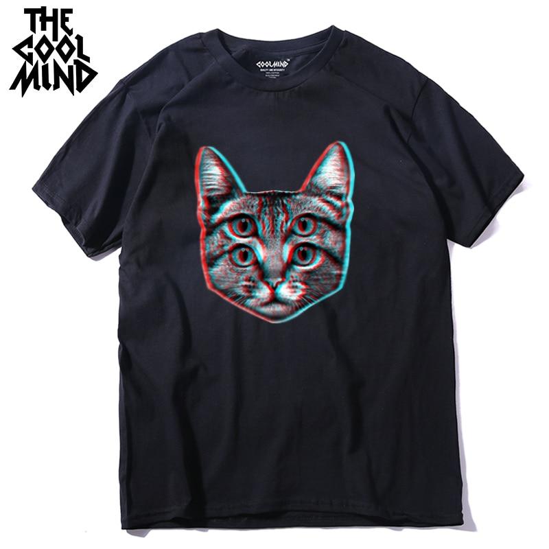 COOLMIND Qi0410A 100% Cotton Funny Short Sleeve Men T Shirt Casual Cat Cool Mens Tshirt Male Fashion T-shirt Tee Shirts