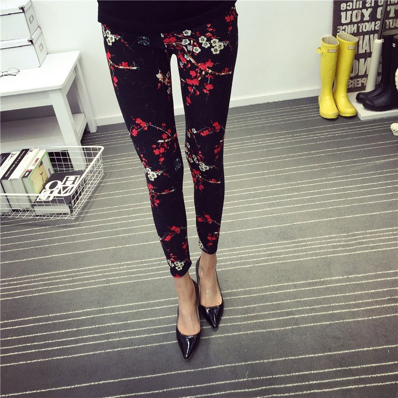 BIVIGAOS Spring Summer Womens Fashion Black Milk Thin Stretch leggings Colored Stars Graffiti Slim Skinny Leggings Pants Female 40