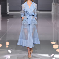 European Designer Runway Dresses 2018 Summer Autumn Elegant Vintage Long Sleeve Feathers Organza Madi Dress White/Blue