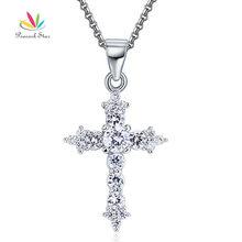 Pavone Star Solido 925 Sterling Silver Cross Pendente Della Collana Dei Monili CFN8028