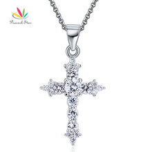 Pavo real Estrella Sólida Plata de ley 925 Colgante Cruz Collar de Diamantes Creado Joyería CFN8028