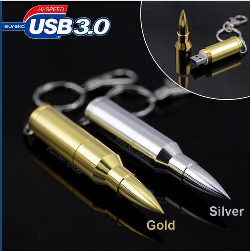 Bala de Plata de oro del Disco de U 3.0 64 GB/128 GB/256 GB/512 GB USB Flash Drive Memoria Flash Pen Drive Flash Drives Tarjetas de Memoria Pendrive