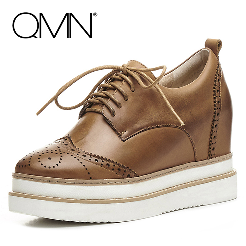 QMN women laser-cut brushed leather brogue shoes Women Height Increasing Oxfords Casual Shoes Woman Leather Platform Flats qmn women brushed leather platform brogue shoes women round toe lace up oxfords flat casual shoes woman genuine leather flats