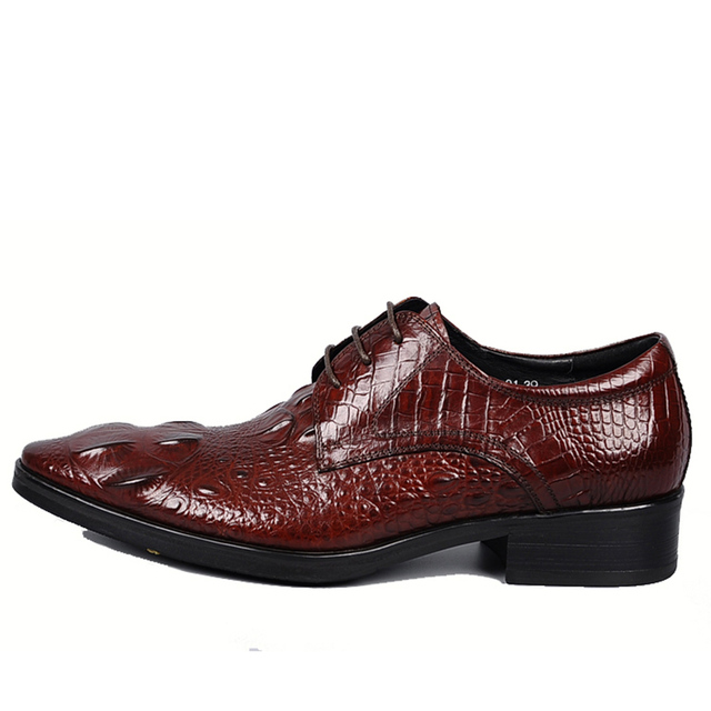 Sipriks Genuine Leather Wine Red Dress Shoes Mens Printed Crocodile Skin Shoes Pointed Lace Up Derby Oxfords Boss Business Black