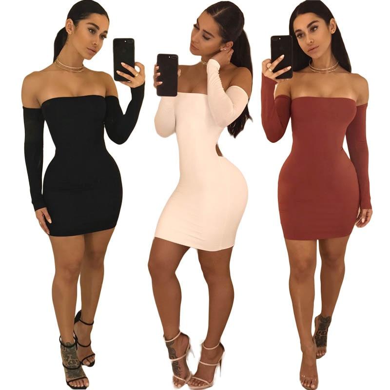 HTB19mFfmLNNTKJjSspcq6z4KVXad Hirigin Women's Summer Long Sleeve Slash Neck Hollow Bandage Bodycon Night Club Party Dress