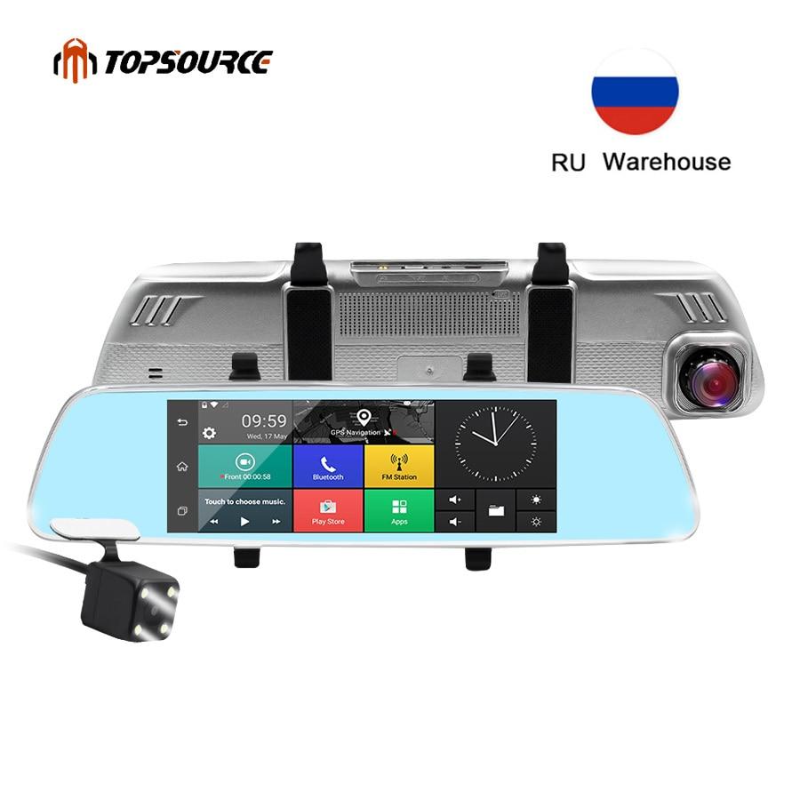 TOPSOURCE 7 pouces 3G voiture DVR miroir Gps double caméra lentille GPS voiture CAMER Android Quad-core Full HD 1080 P GPS Navigation 16 GB/1 GB