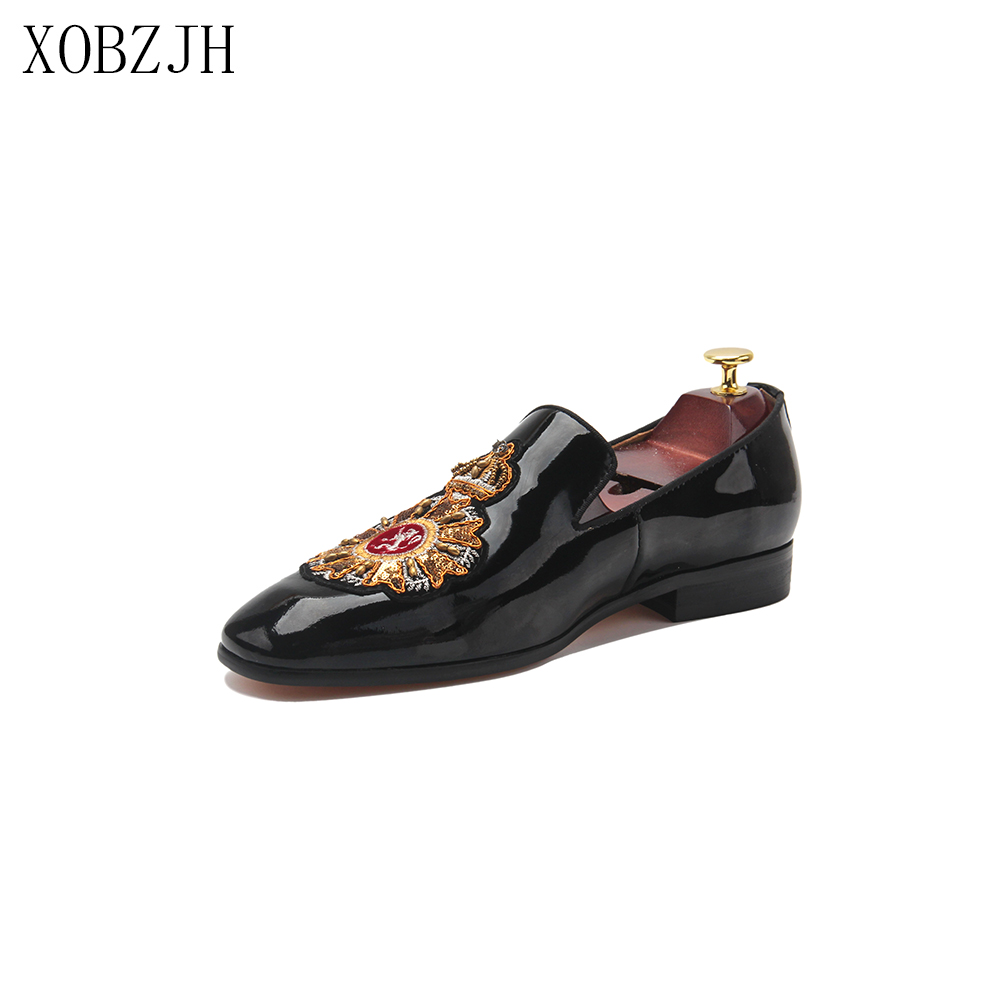XOBZJH Men Prom Slip On Leather Loafer Shoes Designer Black 2020 Formal Dress Wedding Party Fashion Luxury Shoes Plus Size 13