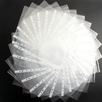 5PACKS Hot A4 Clear Plastic Punched Pockets Folders Filing Wallets Sleeves Wallets - 1000pieces