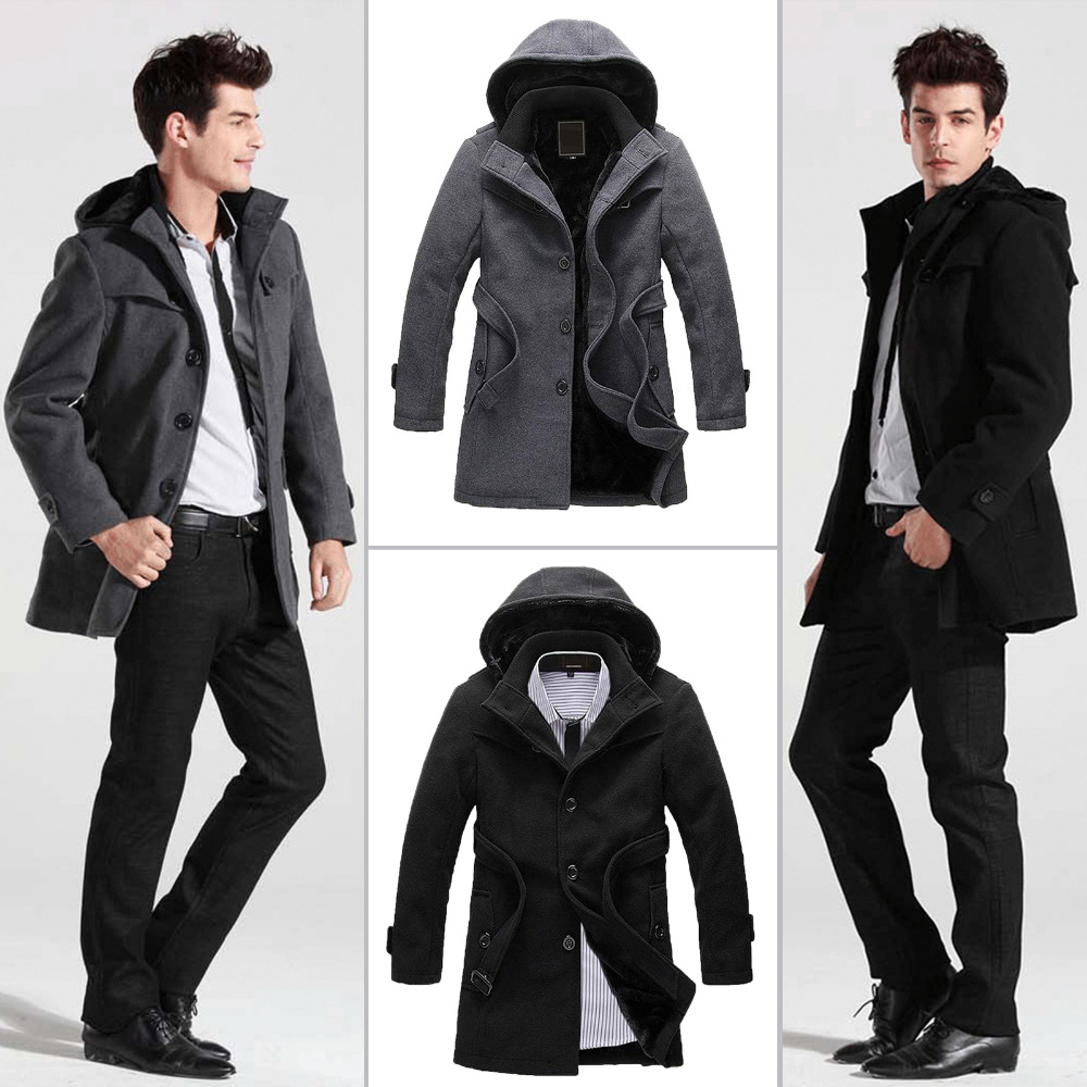 Mens jacket lined with fur - Men Velvet Fleece Fur Lined Long Jackets Winter Wool Hooded Coat Single Breasted Longline Belted Duffy Coats Vintage Peacoat In Wool Blends From Men S