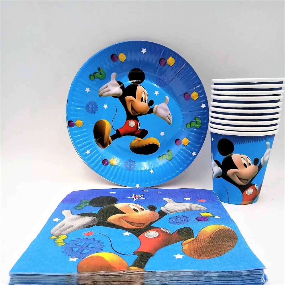 40pc/set Theme Cup/Plate/Napkin Mickey Mouse Party Supplies For Kid Event Birthday Decorations Favors