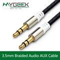 Mygeek 3.5mm jack aux cabo para iphone 6 samsung mp3 3.5mm Orador fio de Cabo de Nylon Colorido Fone De Ouvido Batidas de Áudio Do Carro AUX cabo