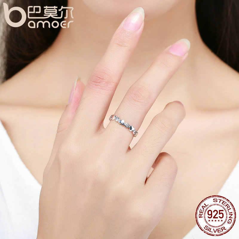 BAMOER, настоящее 925 пробы Серебряное стекируемое кольцо, любовь, сердце, навсегда, кольца на палец для женщин, свадебное, обручальное, ювелирное изделие SCR164