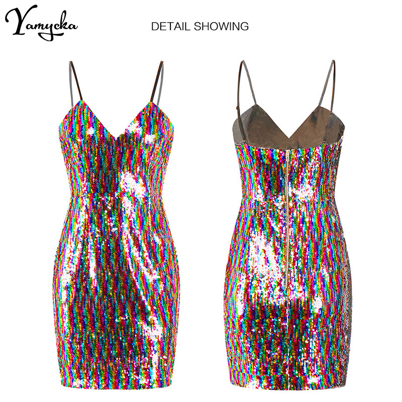 2019 Summer New Sexy Mixed Color Strapless Sequin dress Women Backless Mini Dresses Bodycon Evening Beach Night club Party Dress in Dresses from Women 39 s Clothing