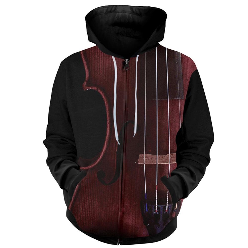 YFFUSHI 2019 3d Hoodie Men Zipper Coat Men Cool Music Instrument Violin 3d Hooded Hoodies Men Jacket Sweatshirts Male 5XL(China)