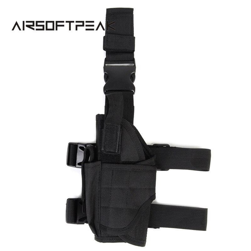 Prix pour Airsoft Militaire Gauche Jambe Poche de Baisse Tactique 600D Nylon Universal Pistol Leg Drop Jambe Gauche Étui Concurrentiel Prix Noir