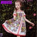 2017 Top Moda de Nueva Vestidos de Las Muchachas de Primavera Verano Vestido de la Muchacha de Marca de gama Alta de La Princesa Grande Sección Delgada 3-14 Edad