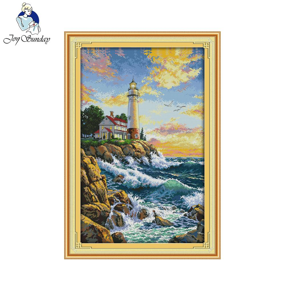 Joy Sunday DIY Embroidery The Lighthouse Print Counted Cross Stitch Needlework Diy Painting Cross Stitch Fashion Home Decoration