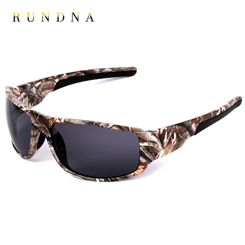RUNDNA Camo Frame Polarized Sports Sunglasses Outdoor Camping Hunting Cycling Bike Riding Fishing Sunglasses Blue Mirrored Lens