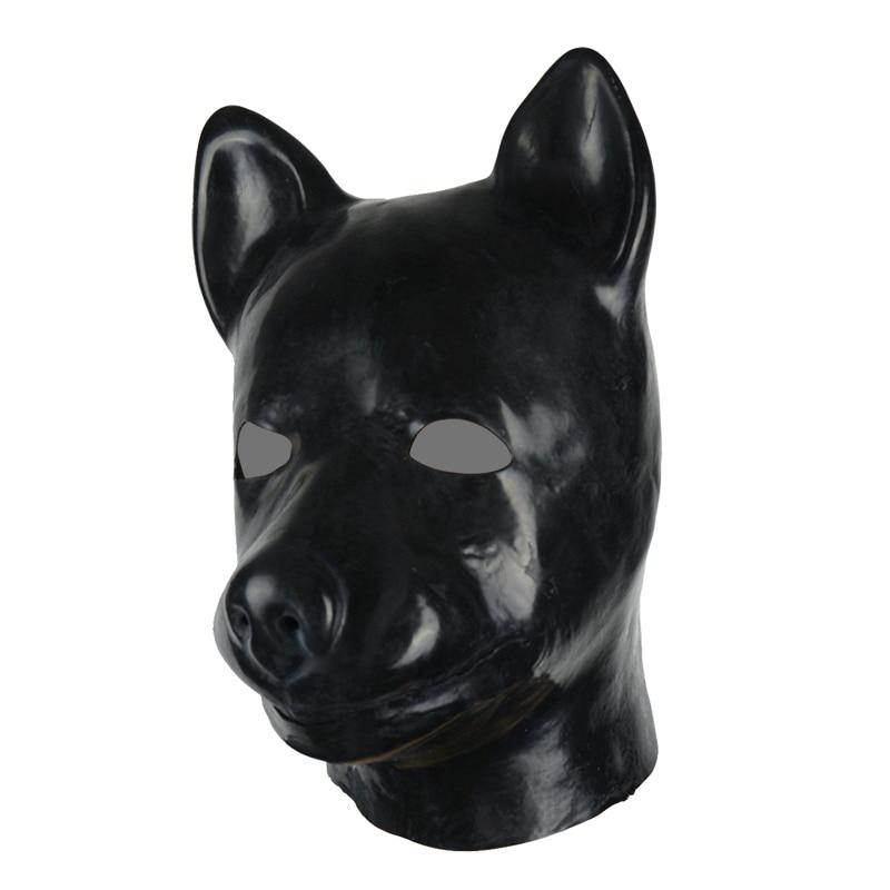 Unisex Latex Pig Mask with Eyes open Zipper Closure Hood Black