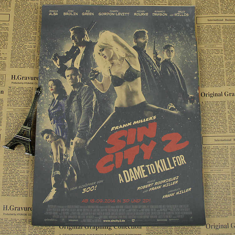 Bruce Willis Movie Poster bar kraft paper decorative painting red ring angel of Sin City