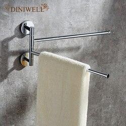 DINIWELL Stainless Steel Storage Shelf 360 Degree Rotation Towel Bars Home Storage Rack Bathroom Organizer