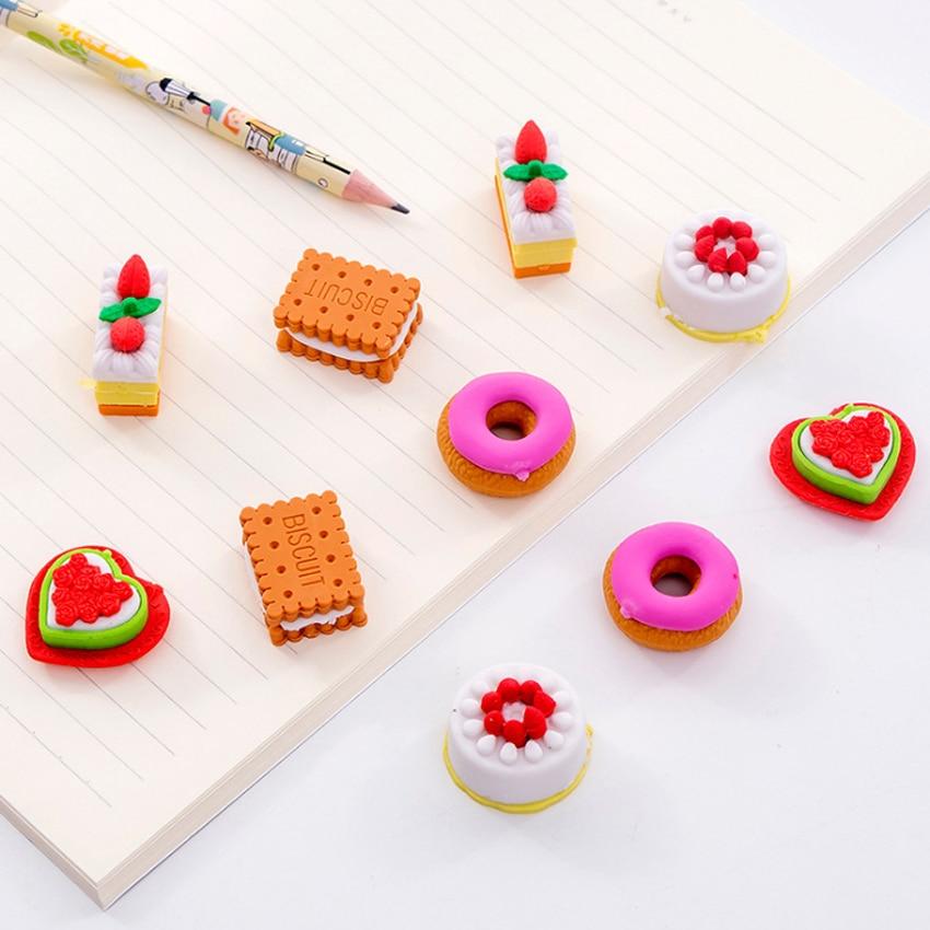 5pcs/lot Lovely Cookie Donut Eraser Set Rubber Eraser Stationery School Supplies Gift For Kids