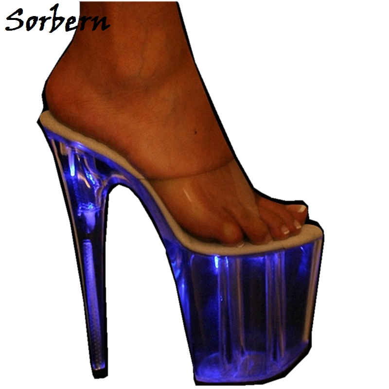 Sorbern Glitter Neon Transparent Slippers Summer Designer Brand Fashion Women Shoes Custom Made Platform High Heels Slippers