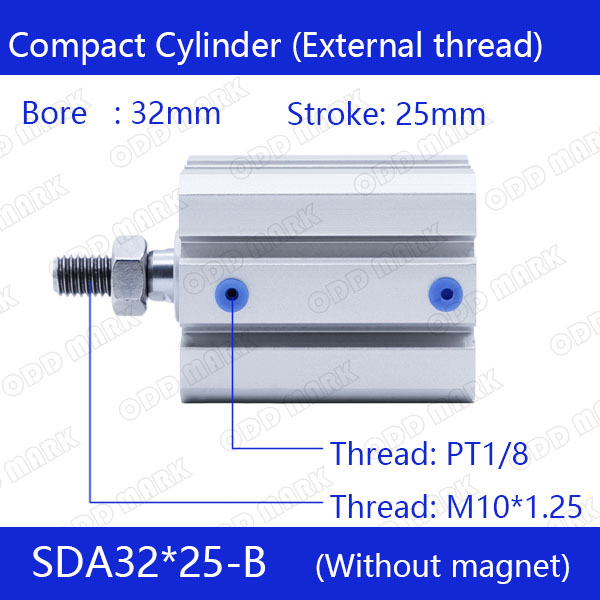 SDA32*25-B Free shipping 32mm Bore 25mm Stroke External thread Compact Air Cylinders  Dual Action Air Pneumatic Cylinder bore size 32mm 25mm stroke sda pneumatic cylinder double action with magnet sda 32 25