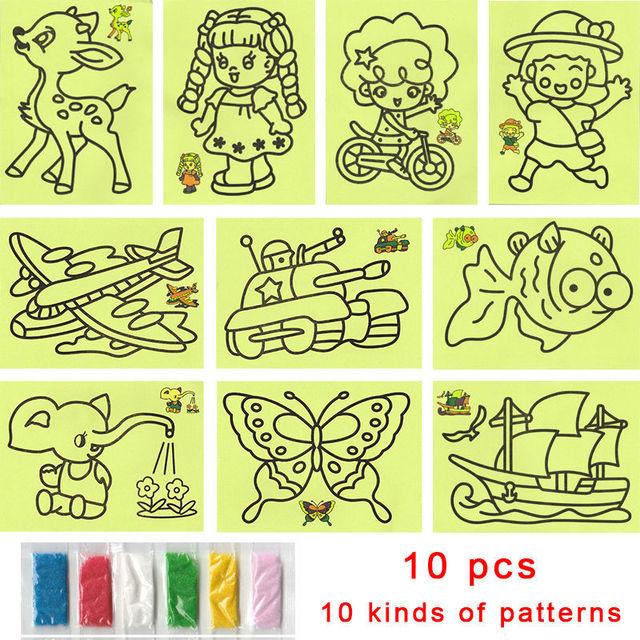 10pcs cartoon diy color sand painting 10 kinds of patterns kids intelligence education tools art drawing