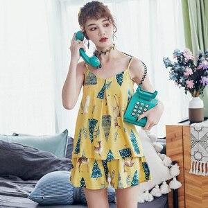 Image 3 - Bzel 2019 Zomer Sling Dames Pyjama Mouwloze Shorts Nachtkleding V hals Katoenen Nachthemden Cartoon Plus Size Pijamas Nachthemden
