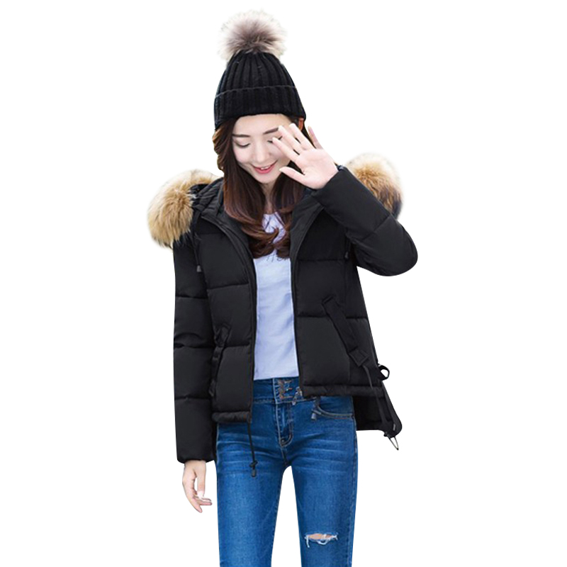 ФОТО 2017 new fashion women jacket female slim thick short real fur collar coat  hooded outwear  cotton warm  student sweet parka