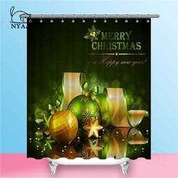 Nyaa Groene En Gouden Ballen Douche Gordijnen Kerst Waterdicht Polyester Badkamer Gordijnen Voor Home Decor