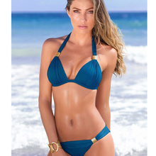 цена на Sexy Solid Color Brazilian Bikini Set Low Waist Swimwear Swimwear Summer Swimsuit Female Blue Beachwear Biquini