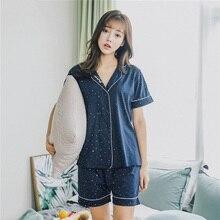الكورية نمط السيدات بيجامة مجموعة بسيطة نمط أزياء 2 قطعة مجموعة قصيرة الأكمام + السراويل القطن ملابس خاصة مجموعة نساء المتعة homewear مجموعة